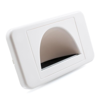 Reverse Bullnose Wall Plate With Brush Entry - White