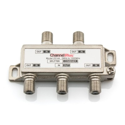 4 Way F-Type Coaxial Splitter/Combiner - DC & IR Passing