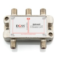 4 Way F-Type Coaxial Splitter/Combiner with Power Pass