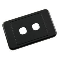Custom Wall Plate 2 Inserts Clipsal Compatible - Black