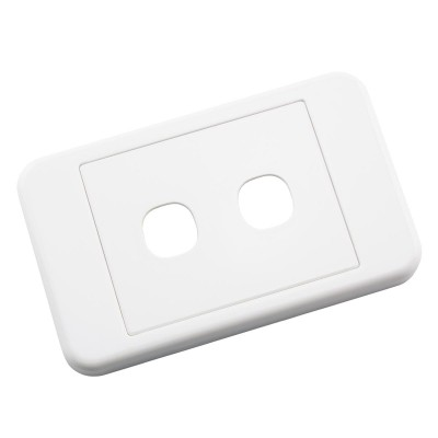 Custom Wall Plate 2 Inserts Clipsal Compatible - White