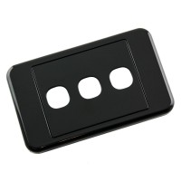 Custom Wall Plate 3 Inserts Clipsal Compatible - Black