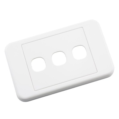 Custom Wall Plate 3 Inserts Clipsal Compatible - White