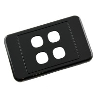 Custom Wall Plate 4 Inserts Clipsal Compatible - Black