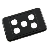 Custom Wall Plate 5 Inserts Clipsal Compatible - Black