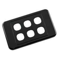 Custom Wall Plate 6 Inserts Clipsal Compatible - Black