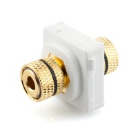 Black Banana Socket Mech Insert Clipsal Compatible - White Bezel