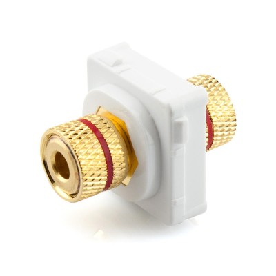 Red Banana Socket Mech Insert Clipsal Compatible - White Bezel