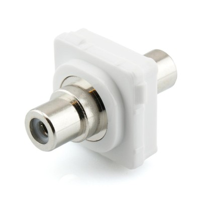 White RCA to RCA Mech Insert Clipsal Compatible - White Bezel