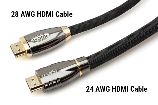 Comparison of 28 AWG HDMI Cable and 24 AWG HDMI Cable