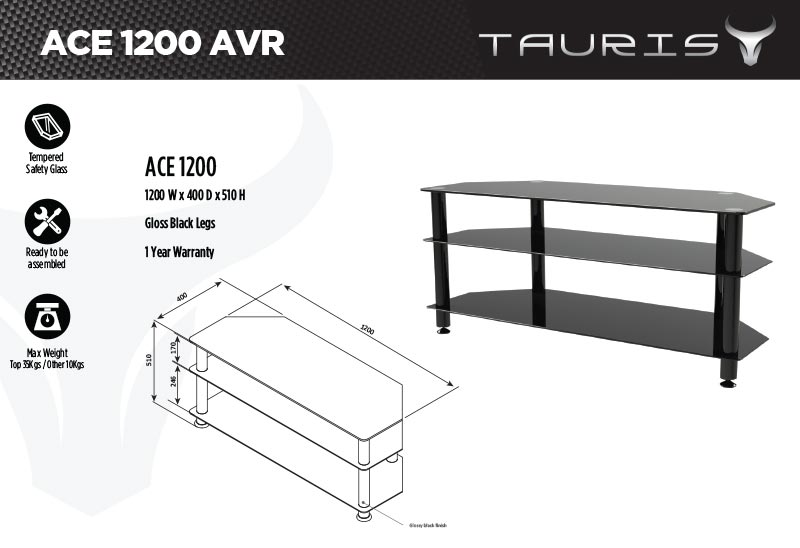 Tauris Ace 1200mm TV Stand - Black