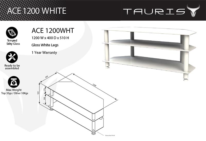 Tauris Ace 1200mm TV Stand - White