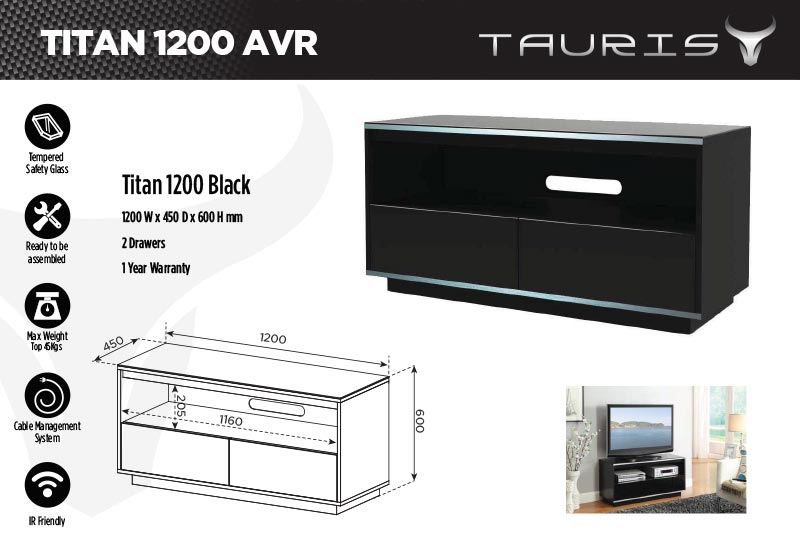 Tauris Titan 1200mm TV Stand - Black