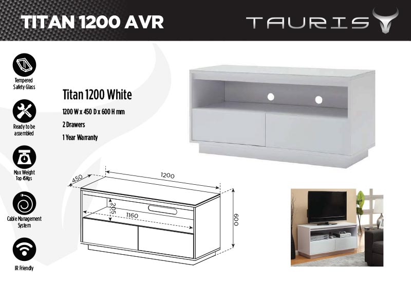 Tauris Titan 1200mm TV Stand - White