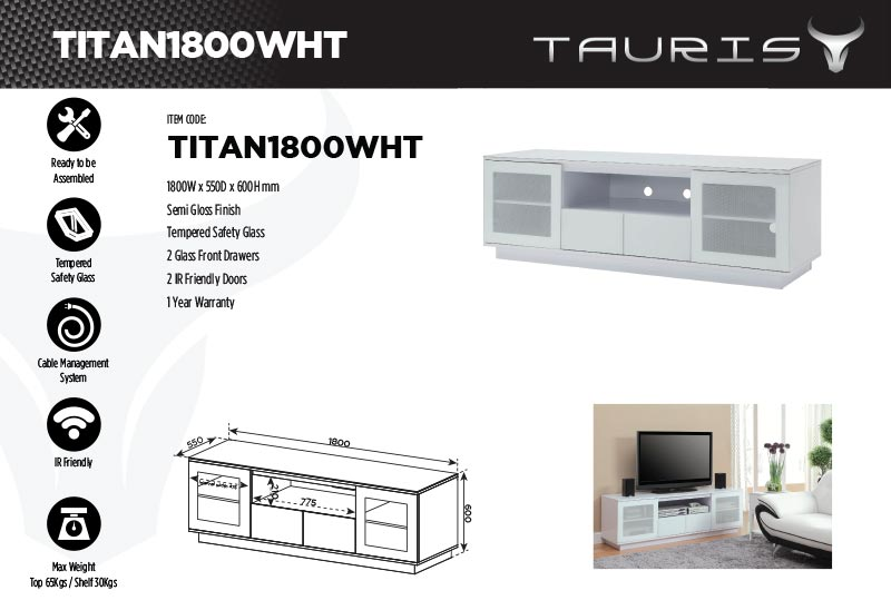 Tauris Titan 1800mm TV Stand - White